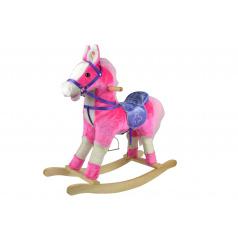Teddies Kůň houpací růžový plyš na baterie 71cm se zvukem a pohybem nosnost 50kg v krabici 62x56x19cm