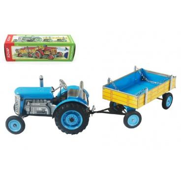 Kovap Traktor Zetor s valníkem modrý na klíček kov 28cm Kovap v krabičce