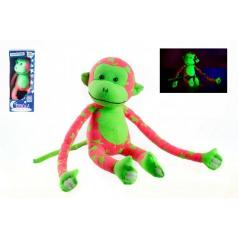 Teddies Wiky Opice svítící ve tmě plyš 45x14cm růžová/zelená v krabici