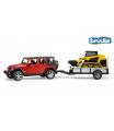 Bruder Konstrukční vozy - Jeep Wrangler s vlekem a kompaktním nakladačem Cat