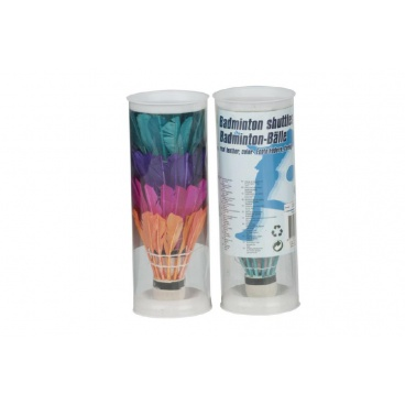 Teddies Míčky/Košíčky na badminton péřové barevné 4ks v tubě 6x18x6cm