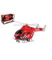 Teddies Vrtulník hasiči 20cm plast na setrvačník na baterie se světlem se zvukem v krabici 23x13x10cm