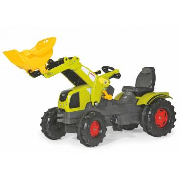 ROLLYTOYS Šlapací traktor Farmtrac Claas Axos s předním nakladačem