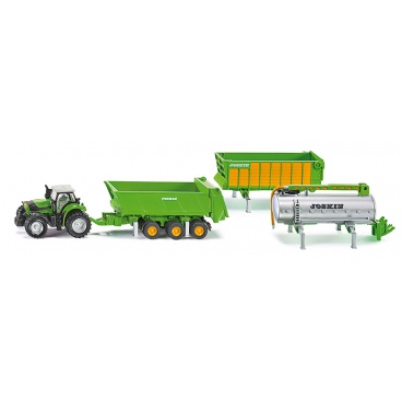 SIKU Farmer - Traktor Deutz se sadou přívěsů Joskin, 1:87