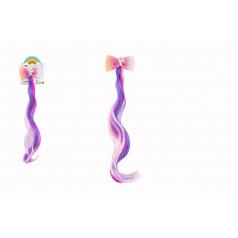 Teddies Spona do vlasov mašle s jednorožcom s dúhovým príčeskom plast/kov 7x30cm v sáčku