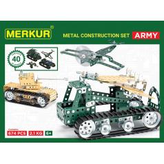 MERKUR - Stavebnice Merkur Army Set, 657 dielov, 40 modelov