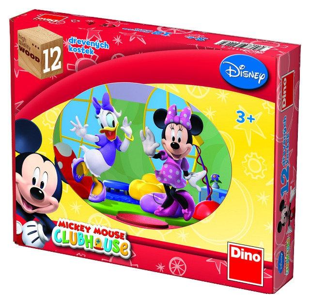Dino obrázkové dřevěné kostky Mickeyo Klubík 12 kostek