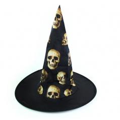 Karnevalový klobouk čarodějnický s lebkami