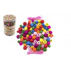 Teddies Korálky dřevěné barevné s gumičkami cca 800 ks ve velké plastové dóze 10x15cm