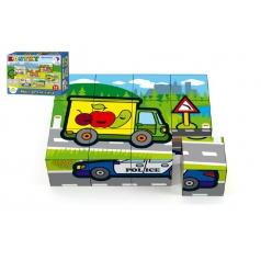Teddies Kostky kubus dřevěné Moje první auta 12ks v krabičce 17x12,5x4cm MPZ