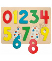 Woody Puzzle na desce číslice s beruškam
