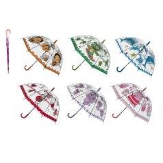 Teddies Deštník průhledný s motivem plast 66cm asst mix barev