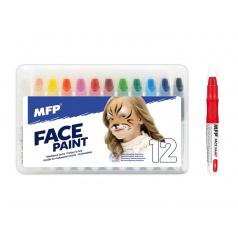 Farby na tvár a telo 12ks v krabičke 22x14cm karneval