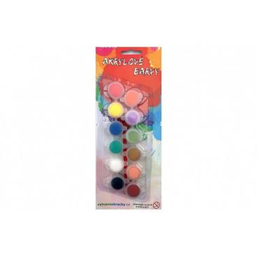 Akrylové barvy 12ks se štětcem na kartě 11x26,5cm