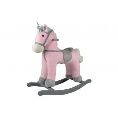 Teddies Kůň houpací růžový jednorožec plyš na bat. 71cm se zvukem a pohybem nosnost 50kg v krab. 62x56x19cm