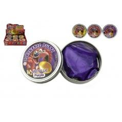 Teddies Hmota/modelína 50g inteligentní metalická 8cm asst mix barev v plechové krabičce