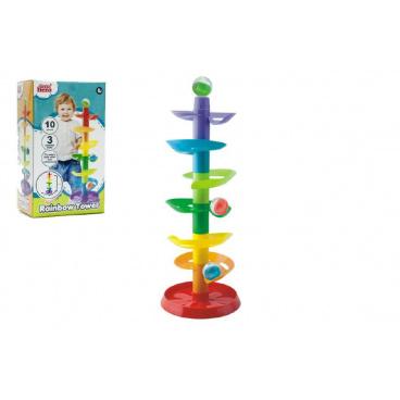 Teddies Kuličková dráha - věž 50cm 10ks 3 kuličky plast v krabici 9m+