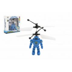 Teddies Robot/Vrtulník 15cm reagující na pohyb ruky s USB nabíjecím kabelem se světlem v krabičce 17x18x6cm