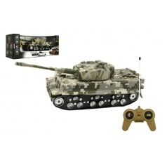 Teddies Tank RC plast 25cm na baterie se zvukem se světlem v krabici 34x14x14cm