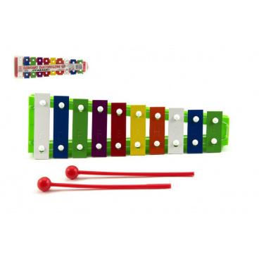 Teddies Xylofon kov/plast + 2 paličky 26cm asst 3 barvy