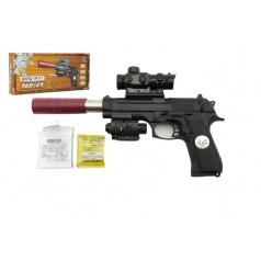 Teddies Pistole kov/plast na vodní kuličky + náboje 5-7mm v krabici 33x15x4cm