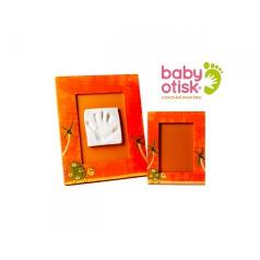 BABY OTISK - Sada pro otisk s ručně malovaným rámem a rámečkem na foto – oranžová