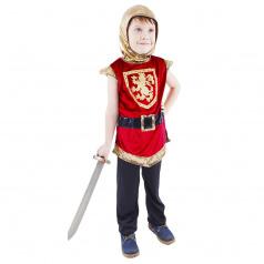 Rappa Dětský kostým rytíř s erbem červený (M)