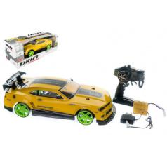 Auto RC drift žluté plast 40cm 27MHz na baterie + dobíjecí pack v krabici 56x20x24cm