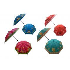 Teddies Deštník 66cm vystřelovací s píšťalkou mix barev v sáčku