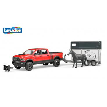 Bruder Volný čas - RAM 2500 s vlekem na přepravu koní + 1 kůň