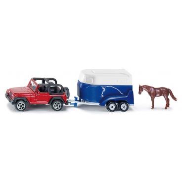SIKU Blister - Terénní vůz s přívěsem a koněm
