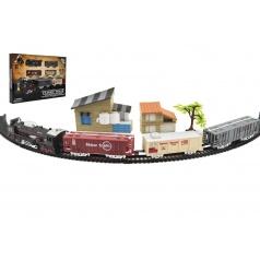 Teddies Vlak + 3 vagóny s kolejemi s doplňky plast 104x68cm na baterie se světlem v krabici 46x32x5cm