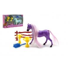 Kůň s doplňky plast asst 2 barvy v krabičce 20x11x3,5cm
