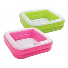 Intex Bazén nafukovací čtvercový pro malé děti, 85x85x23cm 2 komory v krabici