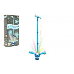 Teddies Mikrofón karaoke modrý plast na batérie so svetlom v krabici 17x34x7cm