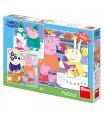 Dino dětské puzzle Peppa Pig: Veselé odpoledne 3X55D