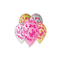 Smart Balloons Balónik nafukovacie motýľ 12 '' priemer 30cm 5ks v sáčku