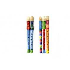 Teddies Flétna dřevo 33cm asst mix barev v sáčku