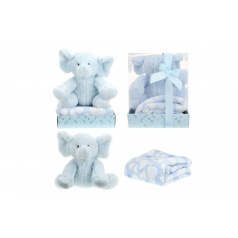 Teddies Sada slon plyš + deka modrý v blistri 20x26x18cm