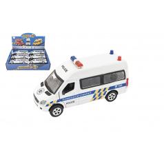 Teddies Auto policie kov/plast 15cm na baterie se světlem se zvukem na zpětné natažení