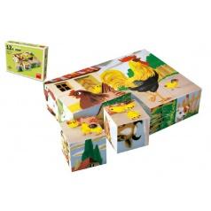 TOPA Kostky kubus Domácí zvířátka dřevo 12ks v krabičce 16x12x4cm