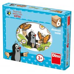 Dino obrázkové dřevěné kostky Veselý krtek 6 kostek