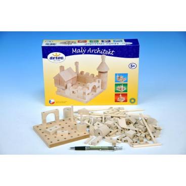 Detoa Stavebnice Malý Architekt kostky dřevo 120ks v krabici 29x20x6cm
