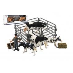 Teddies Zvířátka domácí farma s doplňky sada plast 3 druhy v krabičce 43x14x10cm