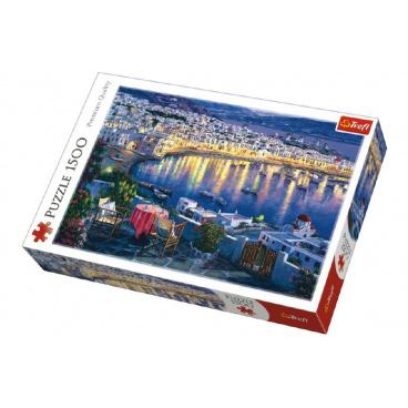Trefl Puzzle Ostrov Mykonos při západu slunce 1500 dílků 85x58cm v krabici 40x26x6cm