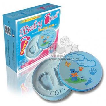 Baby Otisk chlapeček - kulatá kovová krabička modrá