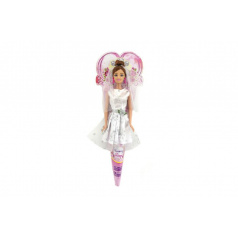 Panenka nevěsta plast 28cm kloubová v kornoutu