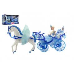 teddies Panenka s koňem a kočárem plast na baterie se světlem v krabici 56x30x19cm