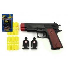 Teddies Pistole špuntovka s náboji + terče plast 15cm na kartě
