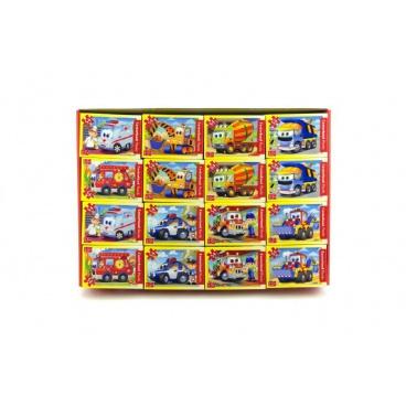 Castorland Minipuzzle Pohádková auta 54 dílků 16,5x11cm asst 8 druhů v krabici 32ks v boxu